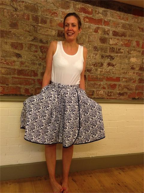 Michaela modelling her fabulous reversible circular wrap skirt