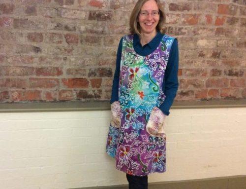 Sue's trendy Janet Clare artisan apron