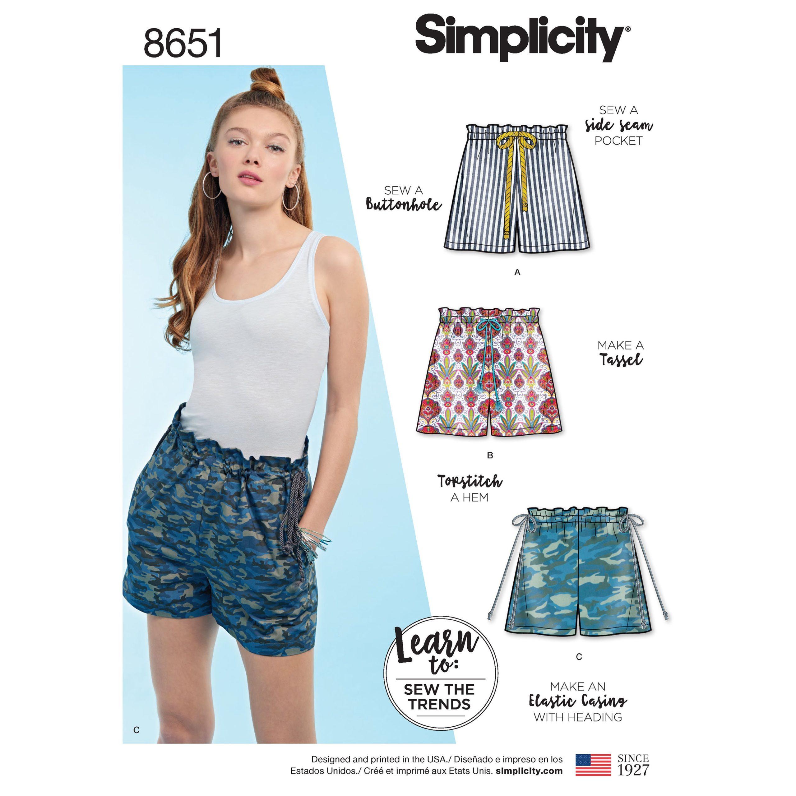 Simplicity 8651 paper bag shorts
